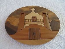 PUEBLO CHURCH WOOD INLAY PICTURE INTARSIA INLAY PICTURE BY MARTINEZ WOODS OVAL