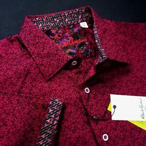 Robert Graham Geometric Diamond Print Magenta Short Sleeve Sports Shirt $199