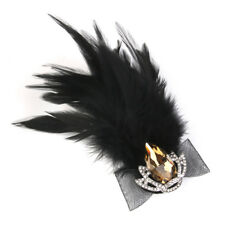 Womens Black Feather Crystal Crown Brooch Pin Fancy Hat Clip Decoration
