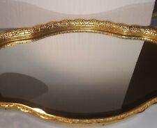 VINTAGE GOLD COLORED FILIGREE OVAL PERFUME,MAKEUP TRAY, VANITY
