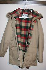 Woolrich VTG Winter Jacket Plaid Multi Tan Coyote Men Medium Hood Zip Western