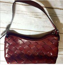 Vintage Red Glazed Italian Leather Handbag Purse Wilsons Leather Pelle Studio