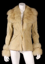 ROBERTO CAVALLI Beige Shearling & Shadow Fox Fur Collar Coat 40