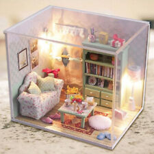 DIY Wooden House Handcraft Miniature Project Kit with Dust Cover Family Hall