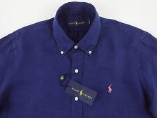 Men's RALPH LAUREN Navy Blue Linen Shirt M Medium NWT NEW $125+ Pink Pony