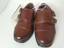 Boys Deer Stags slip on Hook and Loop Loafer dress Shoes Size 5 NEW brown youth