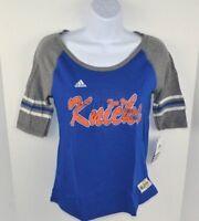 NBA New York Knicks Girls Adidas Hi-Lo Raglan Tee T-Shirt, Blue, L (14/16)