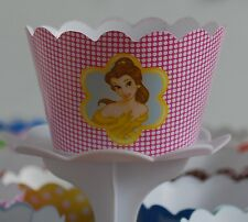 """12 GIRLS Party """"DISNEY PRINCESS BELLE"""" Cupcake Wrappers-WORLDWIDE FREE SHIPPING"""