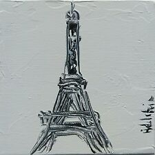 tableau original contemporain peinture Tour Eiffel white PARIS