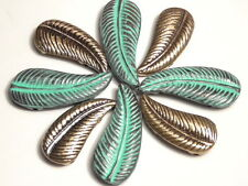 8 - 2 HOLE BEADS SOUTHWESTERN TRIBAL FEATHERS OR LEAVES BRASS & COPPER PATINA
