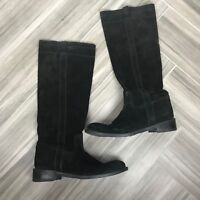 Barneys New York Womens Black Suede Tall Boots Size 40 Casual Slip On Block Heel