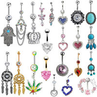 Unique New Navel Belly Ring Rhinestone Button Bar Barbell Body Piercing Jewelry