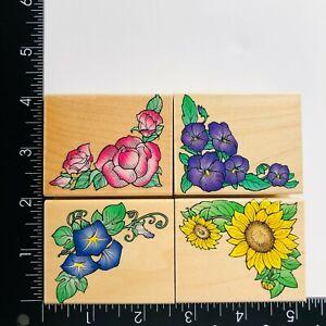 Hero Arts Rose Sunflower Morning Glory Pansy Corner Flowers Rubber Stamps 4 Set
