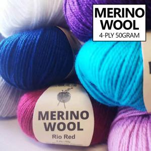Malli 50g Merino Wool Blend 4ply Knitting Yarn Balls Crochet Wools Super Soft