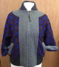 J Crew Wool Jacket OOAK Sample Lace Overlay Zip Up  L Ribbed Cuffs Collar Waist