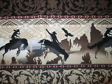 COWBOY HORSES BORDER HORSE FANCY BROWN COTTON FABRIC FQ OOP