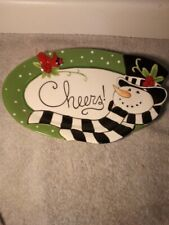 FITZ & FLOYD FROSTY'S FROLIC  CANDY DISH / PLATE--CHRISTMAS-----FREE SHIP--VGC
