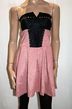 EF Collection Brand Black Dusty Rose Lace Up Back A Line Dress Size M BNWT #TF23