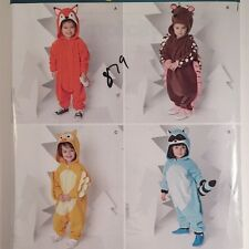 Simplicity S0487 Toddler Fox Hedgehog Raccoon Owl Costume Sew Pattern Sz 1/2 - 4