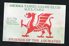 C1980s QSL Radio Card - Welsh Dragon - Sierra Tango Dxing Club: Prestatyn