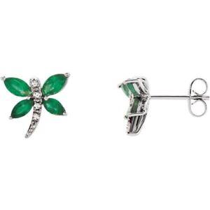 Dragonfly Emerald Diamond Earrings genuine 14kt white gold May Birthstone