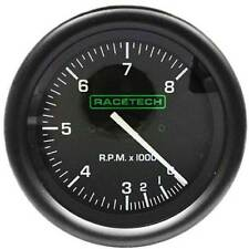 Racetech 80mm Tacho/Tachometer/Rev Counter 0-8000 RPM 4, 6, 8 Cylinders