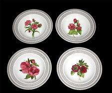 4 SAVINIO Fleur De Rouge Floral & Gold Accents Wide Rimmed Soup Bowls NWT $100