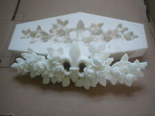 SILICONE RUBBER MOULD FLEUR DE LIS WITH FLOWERS AND LEAFS MAKE DIY