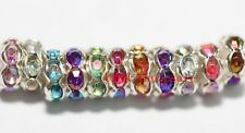6mm 100pcs Crystal Rhinestone Paved Rondelle Spacer Beads for Jewelry Making EN