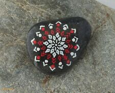 Hand Painted Alchemy Stone with Red & White Geometric Snowflake Design