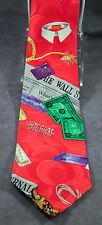 Nicole Miller Wall Street Financial Red Hand Sewn Silk 1991 Novelty Necktie