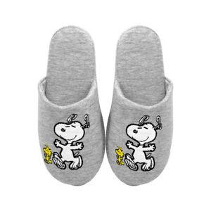 Peanuts Ladies Womens Grey Novelty Snoopy Slip On Mule Slippers Size 3 4 5 6 7
