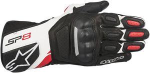 Alpinestars SP-8 V2 Leather Riding Gloves (Black/White/Red) Choose Size