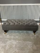 Large Ottoman Chesterfield Footstool In Grey Linen