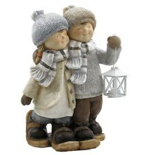 Boy & Girl with Snowshoes and Lantern Christmas Figurine Tushkas
