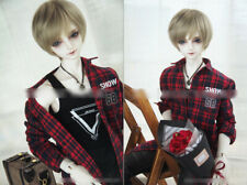 1/3 BJD 70cm chest 32-35cm male doll red plaid fleece shirt clothes outfit