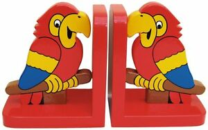 Parrot On Red Wooden Bookends - Hand Made In Uk