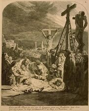18th-19th c. BERNARD PICART Etching DESCENT FROM THE CROSS after Rembrandt