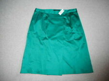 NWT Womens Skirt-TALBOTS-green satin lined faux wrap -6
