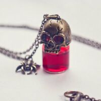 Halloween Gothic Skull Vampire Blood Bottle Pendant Vial Necklace Cosplay Gifts