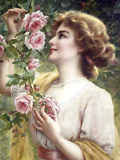 Beautiful Young Lady Smelling Roses , by Emile Vernon