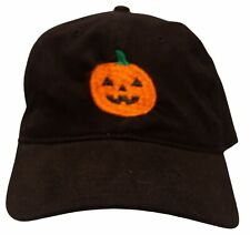 Pumpkin Hat/Cap - Adjustable - Embroidered on a black hat - Halloween