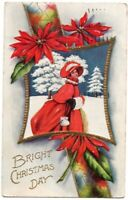 93019 VINTAGE CHRISTMAS POSTCARD WOMAN IN RED IN SNOW 1910 EMBOSSED
