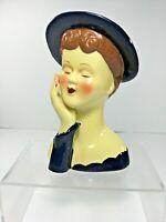 "6 1/8"" Lady Head Vase w/ Hand, Brown Hair & Blue Hat"