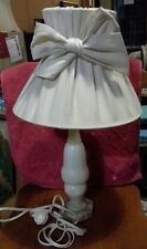 Vintage Marble Table Lamp with Cheesecloth Gathered Lampshade