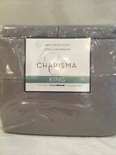 Charisma 6 Piece King Sheet Set 100% Cotton 400 Thread Count Gray
