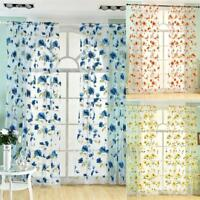Voile Tulle Panel Curtain Window Room Drape Divider Floral Scarf Sheer Valance