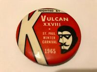 Vintage 1965 St. Paul Winter Carnival Pinback Button Vulcan Rex the XXVIII