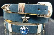 NEW HATBAND BLUE CRYSTALS & Silver STAR+Rectangle CONCHOS Dallas Cowboy Hat Band