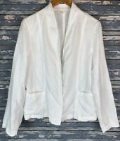 Eileen Fisher Linen Blazer Jacket White 100% Linen Women's Size Small